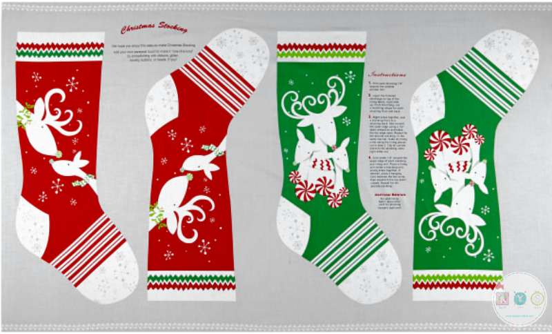 Peppermint Reindeer Panel - Christmas Stockings Fabric by Studio Meraki for Studio E Fabrics 4158-68 - Patchwork & Quilting