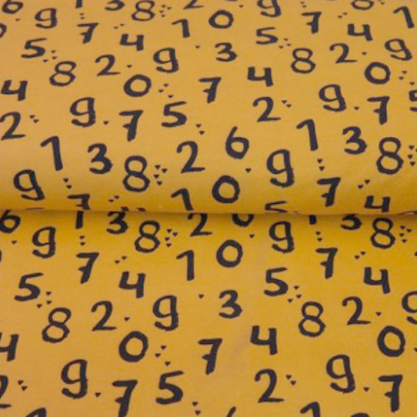 Numbers On Yellow - Cotton Knit - Jersey - Dressmaking Fabric
