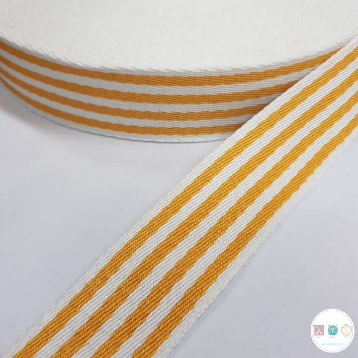 Yellow and White Stripe - Cotton Bag Strapping - Sew On Bag Handles - Haberdashery