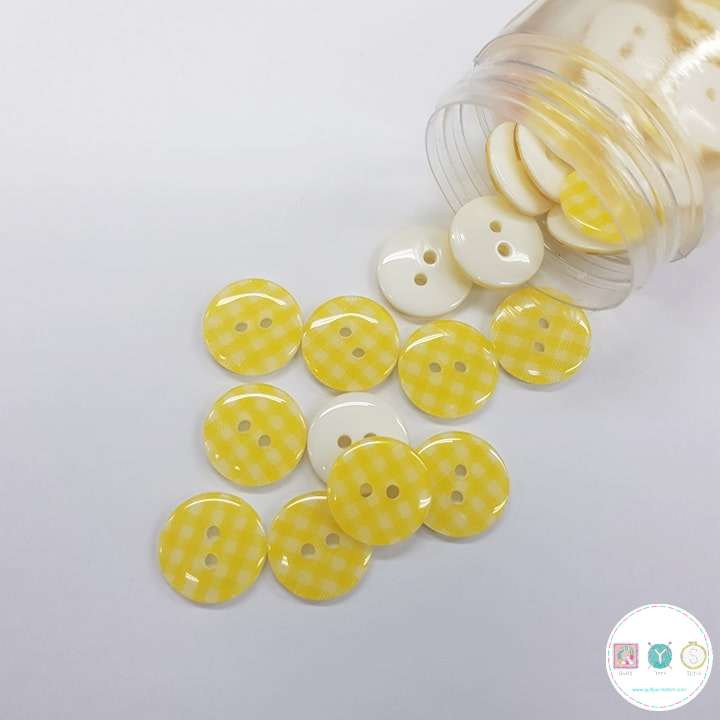 Yellow Gingham - 12mm - 2 Hole - Flat - Sew-Through - Plaid - Button - Haberdashery