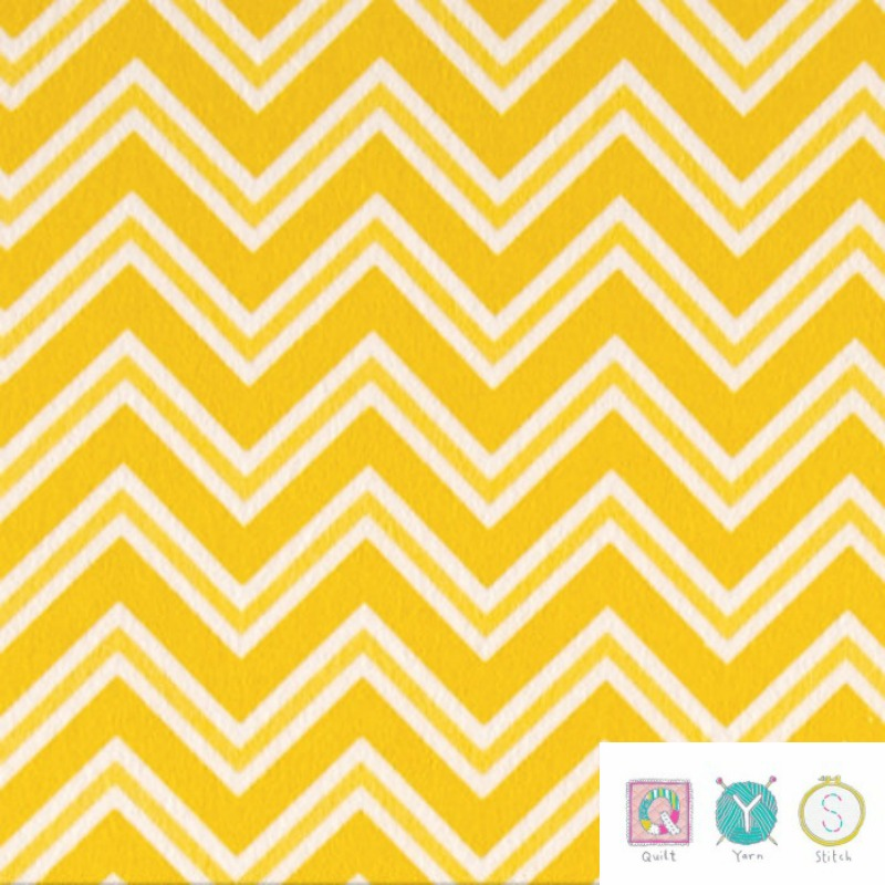 Yellow Chevron Flannel - Ric Rac Paddywack by Kim Diehl for Henry Glass Fabric