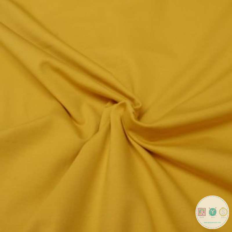 Plain Yellow - Solid Colour Cotton Jersey Fabric - By Stenzo - Dressmaking Textiles
