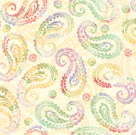 Yellow Multicolour Paisley Fabric - Leela by Quilting Treasures AS 27759E